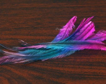 Cruelty Free Feather Extensions Rainbow Dyed Emu Feathers Pink Blue Peach Feather Hair Accessories Colorful Hair & Craft Supplies, 12 Pack