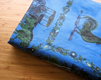 Vintage 19 Feet Fabric Length, 6 Metres Blue Screenprinted Medium Weight Cotton, Curtains, Cushions, Sewing Material