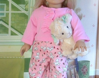 Little Lambs Pajamas Set with Stuffed Lamb for American Girl