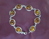 Vintage Silver Bracelet, With Amber Color Features, 7 3/4 Inches Long.  Nice Piece