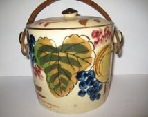 Japan Biscuit Jar, Black made in Japan Mark, Grapes, Cooke Jar, Rattan handle, bamboo handle, old lidded jar, leaves, hand painted