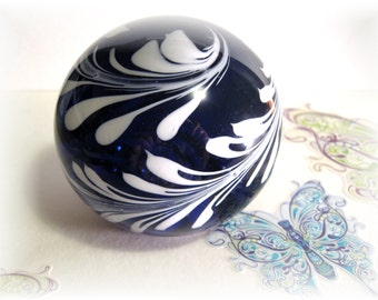 Navy & White Swirl Glass Ball, Dark Blue, Glass ball Paperweight, white swirl glass