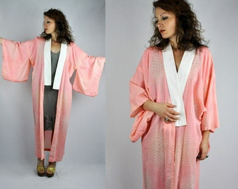 WOOL Kimono Robe Jacket Duster Lightweight Wool Pink Geometrical Flowers Kimono Soft Cozy Warm Free Size