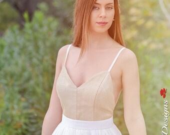 Wedding Dress,Long Wedding Gown,Romantic Wedding Dress,Gold Wedding Gown,Long Grecian Wedding Dress,Cream Dress-Handmade by SuzannaM Designs
