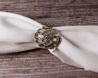 Sterling Silver Marcasite Filigree Ring - Vintage