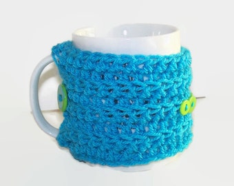 Crochet Mug Cozy Mug Warmer In Turquoise with Green Buttons