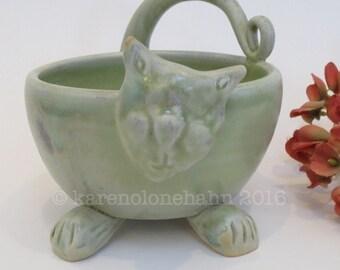 Ceramic Cat Bowl, Ceramic Cat Dish-Winter Green Handmade Pottery Cat Dish, READY TO SHIP