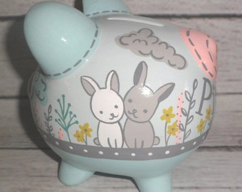 Mint and grey bunny artisan hand painted ceramic personalized piggy bank  rabbit trees nature mint grey coral chartreuse