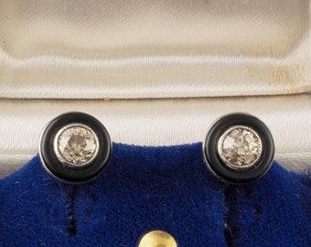 Rare Art Deco .80 Ct diamond and black onyx solitaire stud earrings