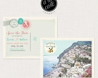 Destination wedding invitation Amalfi Coast Italy Wedding Save the Date Card  postcard Positano sketch drawing Illustrated - Deposit Payment