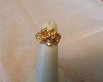 Vintage Goldtone Floral Design Ring, Size Adjustable