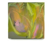 """abstract floral painting """"Secret Garden 3"""" in pink, green, and purple on 12inX12inX3/4in wood panel by Kirsten Gilmore"""