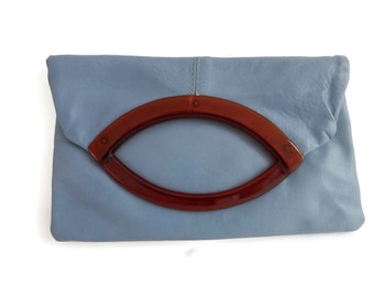 Slate Blue Leather Clutch with Tortoiseshell Lucite Handle by RGA Robert Gimbal Accessories NYC New Vintage