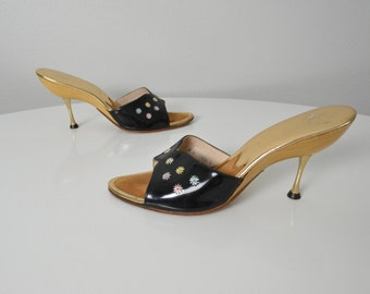 Vintage 1950s 1960s Mules Metal Spike Heels Bombshell Jack Rogers Wood Sandals Pin Up Size 8 50s 60s