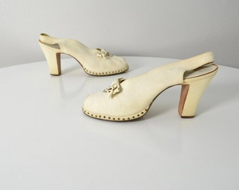 Vintage 1940s 40s Platform Wedding Bridal Shoes Studded White Buck High Heels Bow Size 8