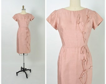 Vintage 1950s 50s Wiggle Dress Pink Silk 3D Floral Appliqué