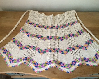 Vintage Hand Crocheted Apron, Multi Colored and Ivory Stripe Kitchen Apron