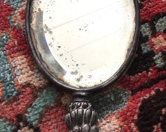 Vintage Beveled Glass Hand Mirror-Old Hand Mirror