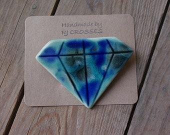 Crystal glazed ceramic diamond brooch