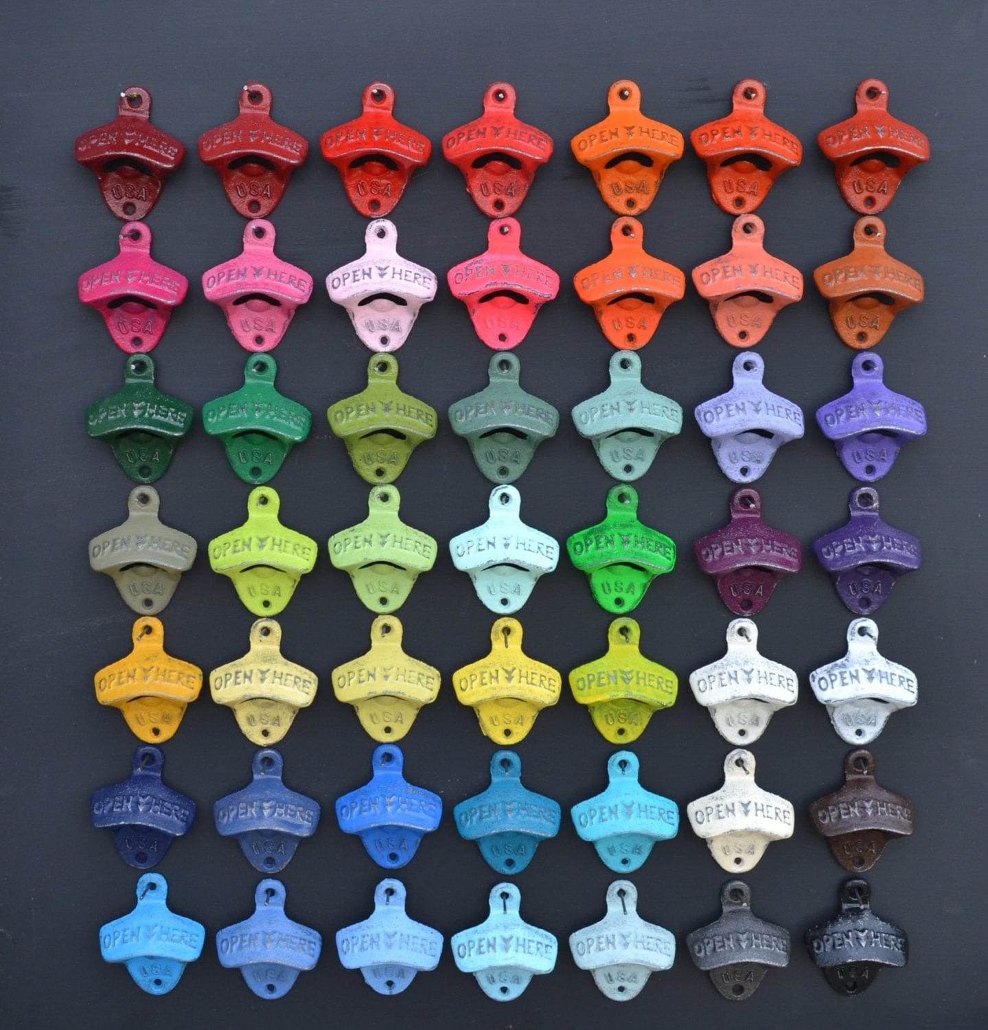 Wall mounted bottle opener over 50 colors cast iron opener for Outdoor decor accessories