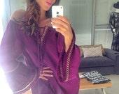 Boho, Bohemian, Bohemian Fringe Dress, Crepe Dress, Purple Dress, Cotton, Offshoulder Dress, Purple