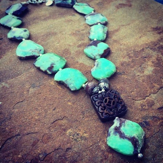 Chrysoprase and Carved Bone Boho Statement Necklace and Earring Set