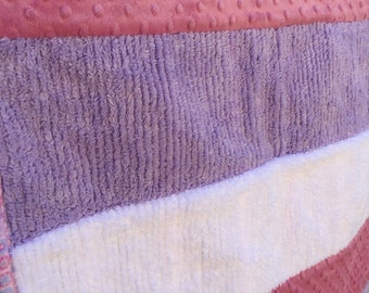 Chenille, Minky, and Flannel Baby Quilt; Lavender and Pink Baby Girl Quilt;