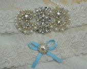 Wedding Garter Set, Ivory Lace Garter,Vintage  Garters, Something Blue Garters