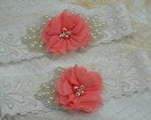 Coral Wedding Garter / shabby flower Garter / Pearl Garter / Toss Garter / Garter Belt / Coral Garter