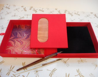 Elegant hand-made book and box set. Memory book. Family Heirloom. Copper art insert. Family journal, diary. History
