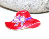 Red Hat Brooch, Art Deco Brooch, Womans Vintage Jewelry, Scarf Clips, Antique Alchemy