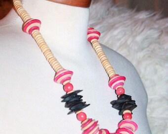 Wood Necklace, Pink Black Necklace, Tribal Jewelry, Vintage Necklace, Antique Alchemy