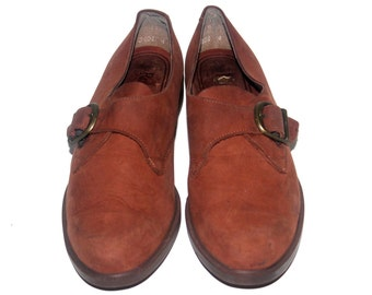 Vintage Womans 8.5, Brown Leather Loafers, Rockports,  Antique Alchemy