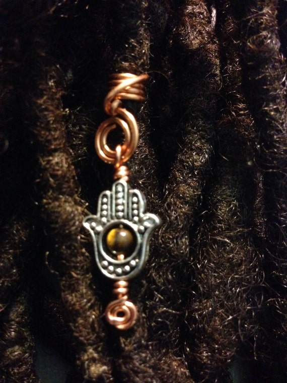 Hand of Fatima Hamsa Tiger Eye Hair Cuffs Wire Wrapped Hair Bead Dread Locs Dreadlock Jewelry Natural Hair Gift