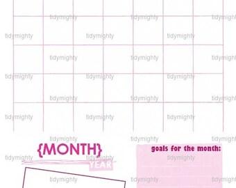 Blank Monthly Calendar / Goal Organizer - Printable PDF (INSTANT DOWNLOAD)