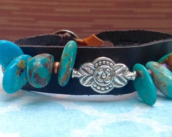 Sundance Turquoise Leather cuff bracelet Native American Bracelet Cowgirl Turquoise Cross Sterling Silver