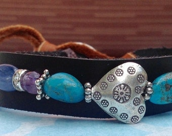 Sundance Leather cuff bracelet Nevada mine Turquoise Native American Bracelet Cowgirl Turquoise Cross Sterling Silver