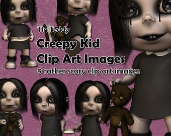 Creepy Kid Clip Art 12 digital images for halloween and scary cards, scrapbook pages, journals etc Spooky child, demon clip art