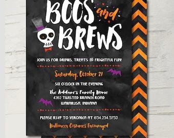 Boos & Brews Halloween Party Invitation || Skull, Bats, Black, Orange, Red