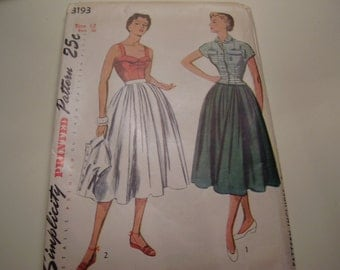 Vintage 1950's Simplicity 3193 Skirt, Jacket and Camisole Top Sewing Pattern, Size 12, Bust 30