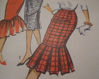 Vintage 1950's McCall's 4633 Skirt Sewing Pattern, Waist 26