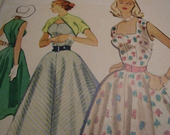 Vintage 1950's McCall's 8949 Dress and Bolero Sewing Pattern, size 12, Bust 30