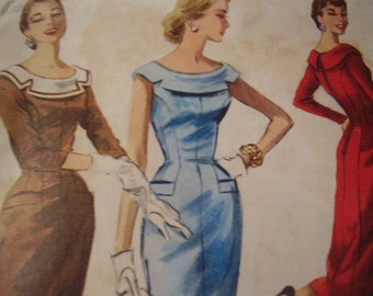 Vintage 1950's McCall's 3461 Dress Sewing Pattern, Size 12, Bust 30