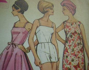 Vintage 1960's McCall's 6780 Bathing Suit, Wrap-Skirt and Beach Dress Sewing Pattern, Size 11, Bust 31 1/2