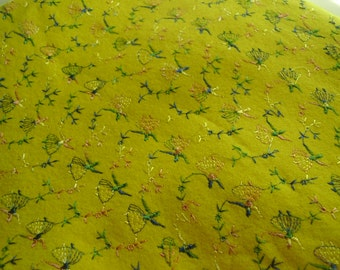 Vintage 1950's Embroidered Felted Dancers Yellow Fabric Remnant