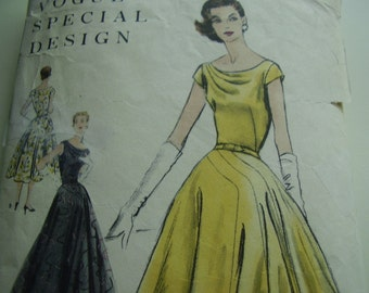 Stunning Vintage 1950's Vogue 4617 Special Design Evening Gown Sewing Pattern, Size 12, Bust 30