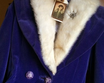 Violette-Stunning Violet Velveteen Waistcoat with Ivory Fur Collar and Irridescent Lining with Vintage Buttons and Rhinstone Starburst Pin