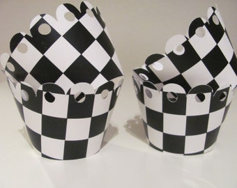 Cupcake wrappers, Black and White, Checkered Flag, Set of 12 wrappers, Baby Shower decorations, Birthday Party, Wedding Decorations