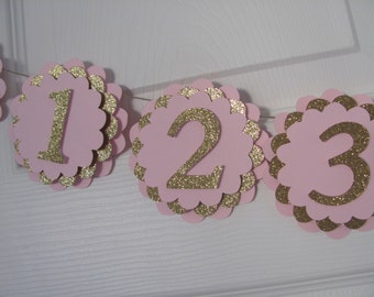 Pink and Gold, first year banner, 12 month banner, photo banner,  first birthday, birthday decorations