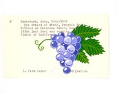 The Grapes of Wrath Library Card Art - Print of my painting of grape cluster on library card